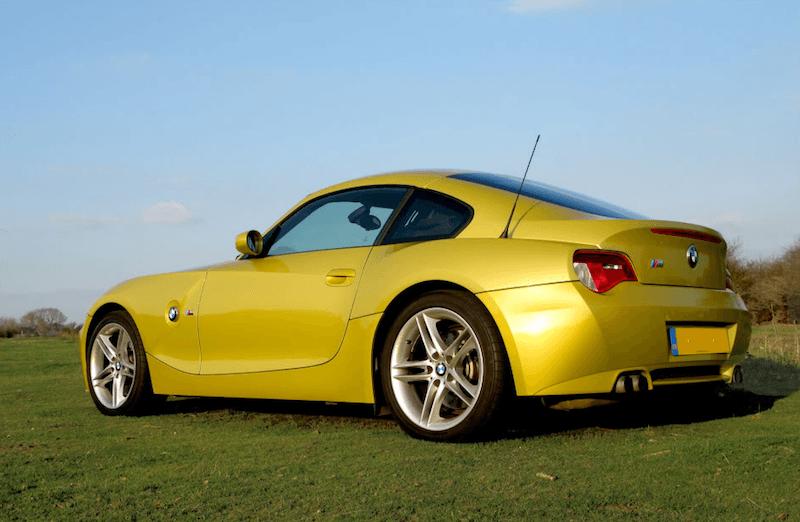 BMW E86 Z4 M Coupe Phoenix Yellow Rear Quarter View