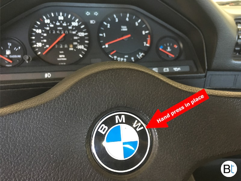 bmw non airbag steering wheel emblem badge replacement. Black Bedroom Furniture Sets. Home Design Ideas