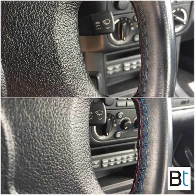 BMW colored steering wheel stitching thread cleaning
