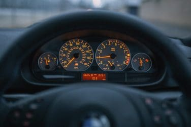 BMW E46 M3 cluster at night