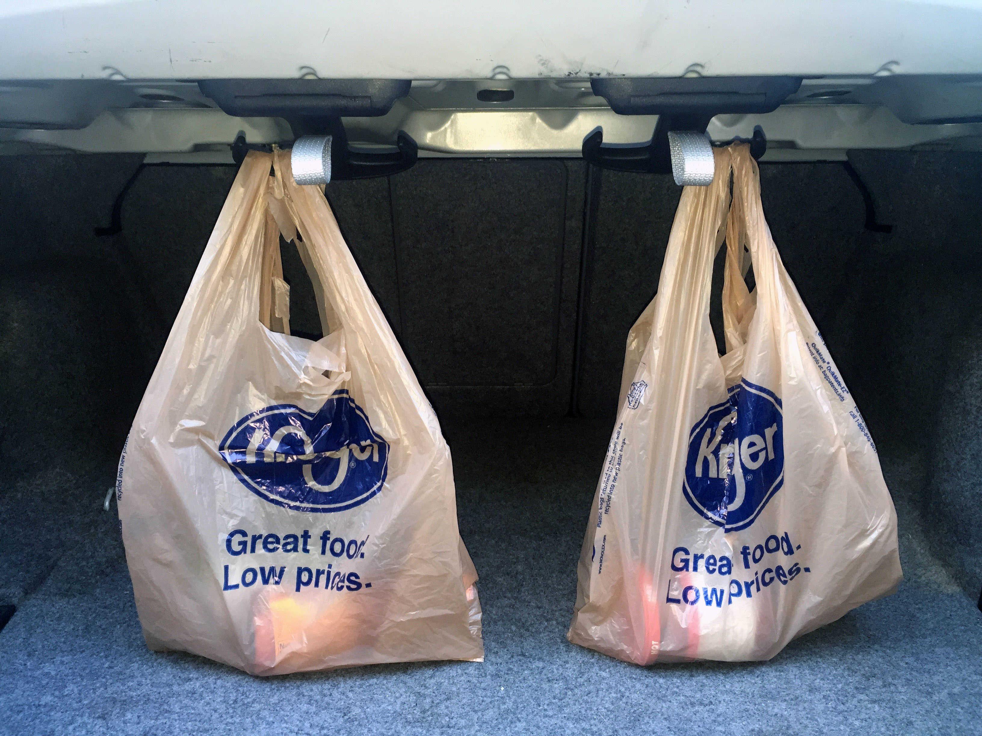 BMW trunk grocery hooks
