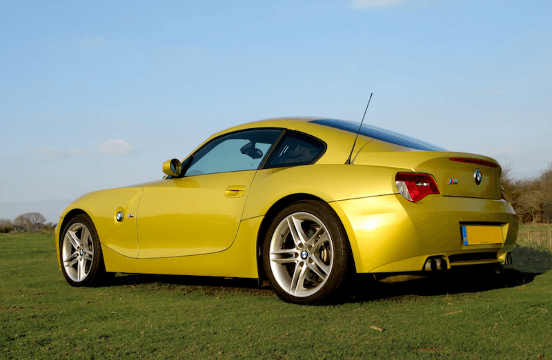 BMW E86 Z4 M Coupe Phoenix Yellow Rear Quarter View