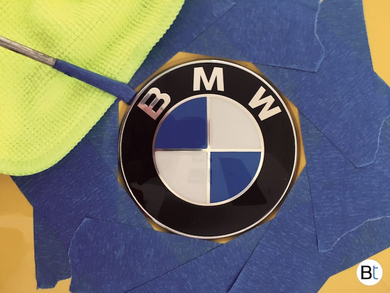 BMW hood roundel emblem removal procedure