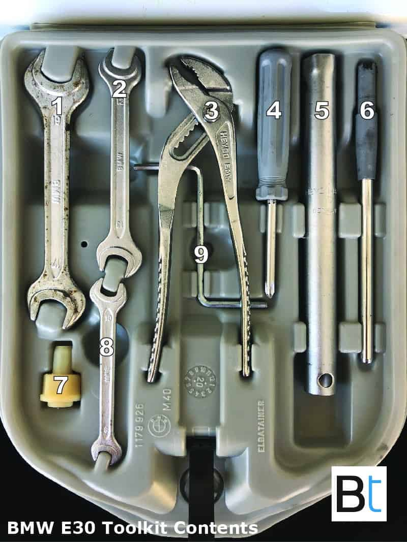 BMW E30 toolkit contents part numbers