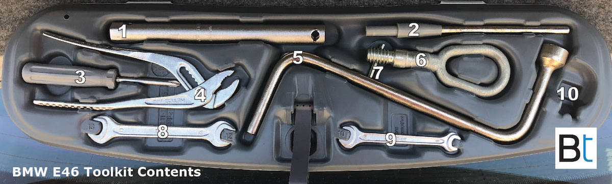 BMW E46 toolkit contents part numbers