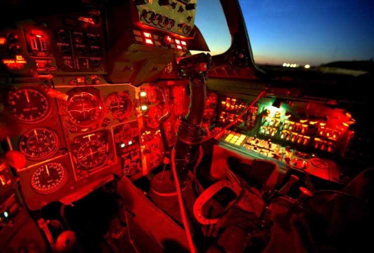 Aviation red instrument panel