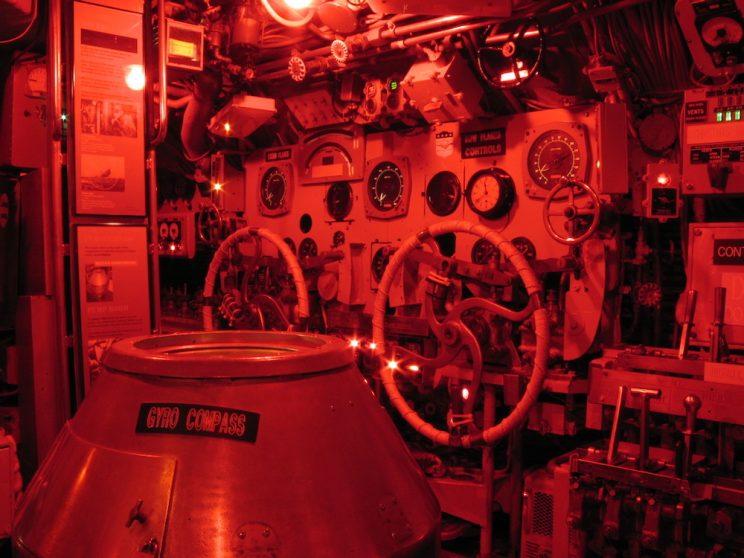 Submarine red lighting